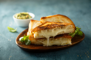 Homemade cheese toast with guacamole