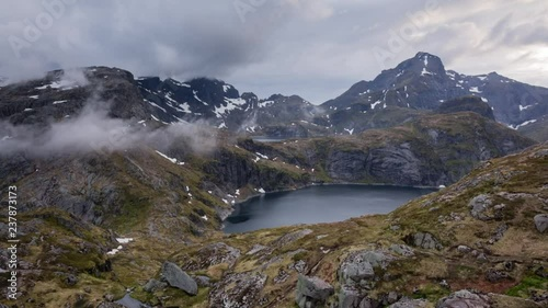 Lakes Tennesvatnet and Krokvatnet and surrounding mountaintops on the Lofoten islands, Norway.