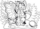 cartoon dragon butterfly coloring book funny illustration