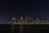 Manhattan skyline panorama with Times Square lights at dusk, New York City