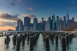 View of Manhattan at sunset from the side of the pier.