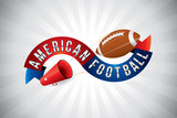Vector american football text design with megaphone. - 237887124