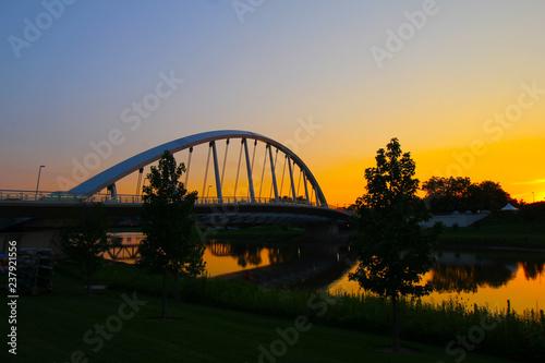 Sunset on the Scioto River, downtown Columbus, Ohio