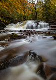 Waterfall on Taf Fechan river. Brecon Beacons National Park, Wales, in Autumn
