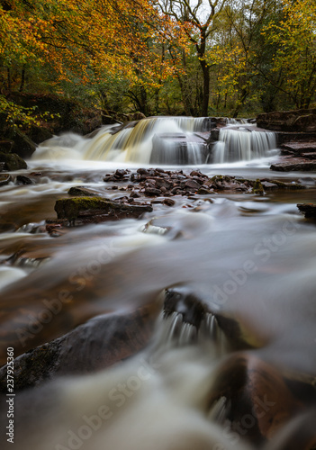Waterfall on Taf Fechan river. Brecon Beacons National Park, Wales, in Autumn - 237925360