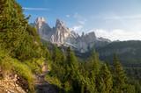 Hiking path toward lake Sorapis in the Italian Dolomites