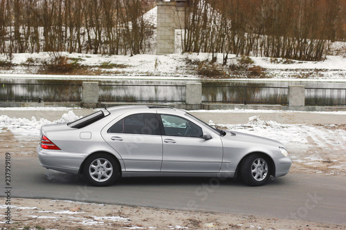 Gray car on the background of the river - 237929189