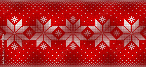 Red and white christmas seamless pattern background with snowflakes vector - 237935120