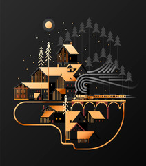 New year and Christmas snowy winter alpine landscape with coniferous forest, pines, cottages and train. Illustration for poster, banner, card, postcard, event icon logo or badge. © An Ha
