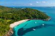Leinwanddruck Bild - Aerial view of beautiful island at Seychelles in the Indian Ocean. Top view from drone