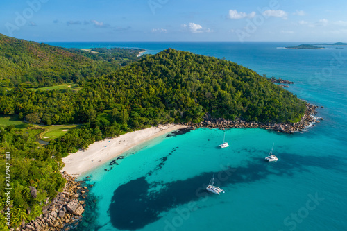 Leinwandbild Motiv Aerial view of beautiful island at Seychelles in the Indian Ocean. Top view from drone