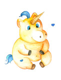 Cute unicorn with blue tail