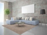 Mock up perfect living room with a modern corner sofa and hipster backdrop.