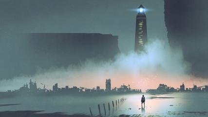night scenery of the big lighthouse in futuristic world, digital art style, illustration painting