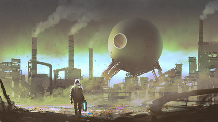 man with protective suit in an industrial factory filled with toxic gas, digital art style, illustration painting