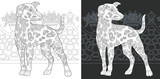 Coloring page with Dalmatian dog