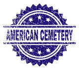 AMERICAN CEMETERY stamp seal watermark with distress style. Blue vector rubber print of AMERICAN CEMETERY label with unclean texture.