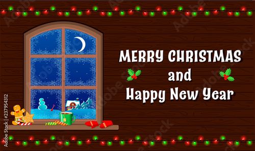 Christmas and new year greeting card. Window on wooden wall with view on winter night landscape. Vector illustration in cartoon style - 237954312