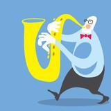 Big Man playing Saxophone (Vector Art)