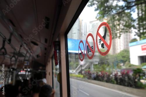 No eating, smoking littering sign on bus in Kuala Lumpur Malaysia