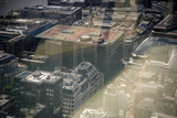 London from above, old buildings and architecture, double exposure.