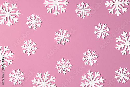 Christmas snowflake on pink background. Xmas minimal texture top view - 237973305