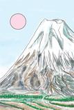 山肌の荒々しい荘厳に聳え立つ山を描きました。