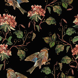 Embroidery vintage geranium flowers and birds seamless pattern. Template for design of clothes, t-shirt design - 237982130