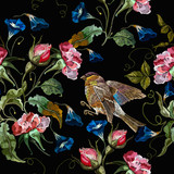 Embroidery datura flowers and titmouse birds seamless pattern. Fashion template for clothes, t-shirt design - 237982135