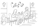 Women talking and drinking coffee in street cafe graphic black white sketch exterior illustration vector - 237987152
