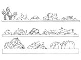 Shelves set graphic black white isolated sketch fruits and vegetables grocery store illustration vector - 237987732