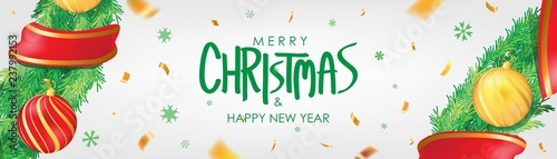 Christmas banner. White Christmas background with christmas balls,  snowflakes and gold confetti. Horizontal christmas poster, greeting cards, headers, website - 237992153
