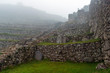 ancient ruins in fog