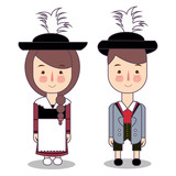 traditional national clothes of Germany Bavaria . Set of cartoon characters in traditional costume. Cute people. flat illustrations.