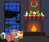 Cozy New Year Christmas interior concept. Indoor view with burning fireplace and new year socks, ornament balls,wreath bow, gift boxes at night time. Flat vector illustration