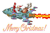 Merry Christmas. Retro Santa Claus with a deer flying on a rocke