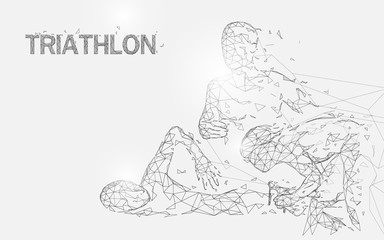 Swimming, cycling and running in triathlon game form lines, triangles and particle style design. Illustration vector