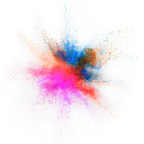 Explosion of colored powder on white background - 238007780