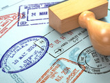Passport with visa stamps. Travel or turism concept background. - 238019907