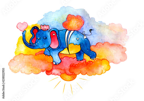 Watercolor elephant with clouds