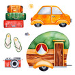Travel watercolor set with suitcases,yellow car,caravan,camera,flip flops.Perfect for wallpaper,print,packaging,invitations,Baby shower,patterns,travel,logos.