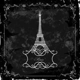 Eiffel Tower on a blackboard