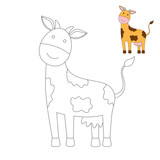 drawing worksheet for preschool kids with easy gaming level of difficulty. Simple educational game for kids. Illustration of funny cow for toddlers