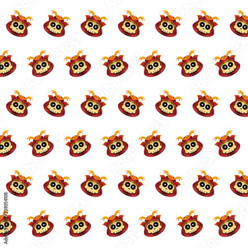 Samurai skull - sticker pattern 37