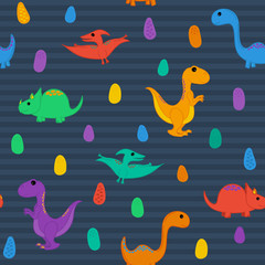 Seamless Repeating Pattern of Dinosaurs and Their Eggs