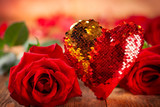 Beautiful red roses  and heart