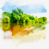 Spring summer background with fresh green grass, clear river with reflection of trees against blue sky in nature, macro close-up. Panoramic view, copy space. Watercolor illustration