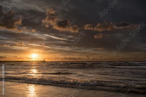 Sunset in Leba sun, mole and lighthouse, Poland - 238061993