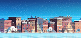 city building houses night winter street cityscape background merry christmas happy new year concept flat horizontal banner flat © mast3r