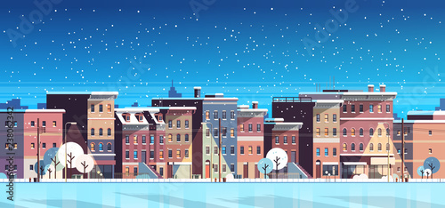 city building houses night winter street cityscape background merry christmas happy new year concept flat horizontal banner flat - 238062342
